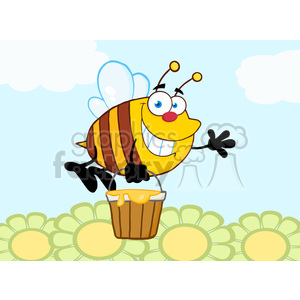 5579 Royalty Free Clip Art Smiling Bee Flying With A Honey Bucket And Waving For Greeting Over Flowers clipart. Commercial use image # 388712
