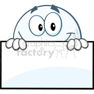 5742 royalty free clip art smiling golf ball hiding behind a sign