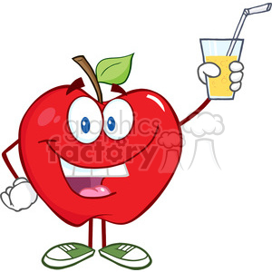 5776 Royalty Free Clip Art Smiling Apple Cartoon Character Holding A Glass With Drink clipart. Royalty-free image # 388732