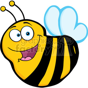 5590 Royalty Free Clip Art Happy Bee Cartoon Mascot Character clipart. Royalty-free image # 388754