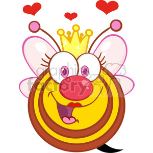 5587 Royalty Free Clip Art Happy Queen Bee Cartoon Mascot Character With Hearts clipart. Royalty-free image # 388774