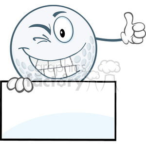 5729 Royalty Free Clip Art Winking Golf Ball Holding A Thumb Up Over Sign clipart. Commercial use image # 388813