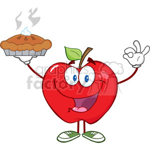 cartoon funny apple apples fruit red