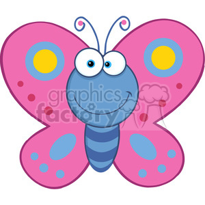 5613 Royalty Free Clip Art Smiling Butterfly Cartoon Mascot Character clipart. Royalty-free image # 388843