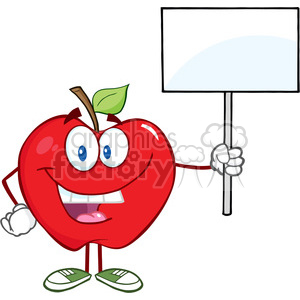 5767 Royalty Free Clip Art Happy Apple Cartoon Character Holding Up A Blank Sign clipart. Commercial use image # 388852