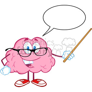 5812 Royalty Free Clip Art Smiling Brain Teacher Cartoon Character Holding A Pointer Witch Speech Bubble clipart. Royalty-free image # 388864