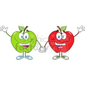 5755 Royalty Free Clip Art Smiling Red And Green Apples Waving For Greeting clipart. Royalty-free image # 388874