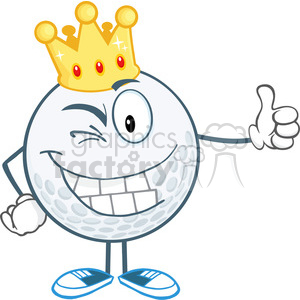 5720 Royalty Free Clip Art Winking Golf Ball Cartoon Character With Gold Crown Holding A Thumb Up clipart. Royalty-free image # 388894