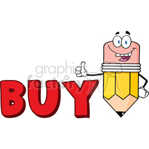 5944 Royalty Free Clip Art Happy Pencil Cartoon Character Giving A Thumb Up With Text Buy clipart. Royalty-free image # 388914