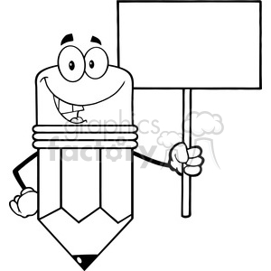 5905 Royalty Free Clip Art Smiling Pencil Cartoon Character Holding A Blank Sign clipart. Royalty-free image # 388934