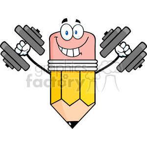 5902 Royalty Free Clip Art Smiling Pencil Cartoon Character Training With Dumbbells clipart. Royalty-free image # 388944