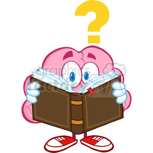 5840 Royalty Free Clip Art Surprised Brain Cartoon Character Reading A Book With Question Mark clipart. Commercial use image # 388954