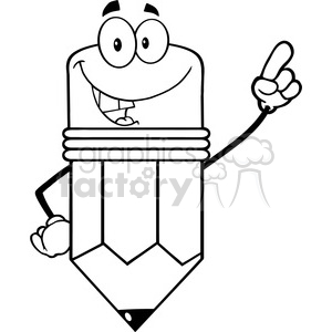 5913 Royalty Free Clip Art Smiling Pencil Cartoon Character Pointing With Finger clipart. Royalty-free image # 388974