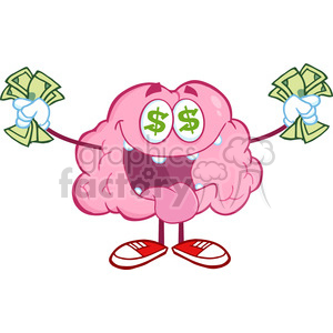 5831 Royalty Free Clip Art Money Loving Brain Cartoon Character clipart. Commercial use image # 388994