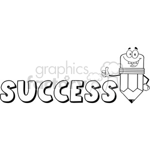5939 Royalty Free Clip Art Happy Pencil Cartoon Character Giving A Thumb Up With Text Success clipart. Royalty-free image # 389014