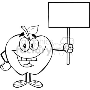 5955 Royalty Free Clip Art Happy Apple Cartoon Character Holding Up A Blank Sign clipart. Royalty-free image # 389044