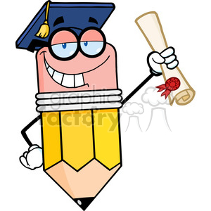 5900 Royalty Free Clip Art Happy Pencil Character Graduate Holding A Diploma clipart. Royalty-free image # 389054