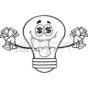 6135 Royalty Free Clip Art Money Loving Light Bulb Cartoon Character copy clipart. Royalty-free image # 389084