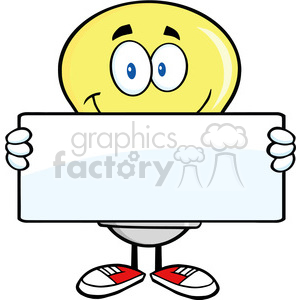 6023 Royalty Free Clip Art Light Bulb Cartoon Mascot Character Holding A Banner clipart. Royalty-free image # 389104