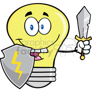 6117 Royalty Free Clip Art Light Bulb Guarder With Shield And Sword clipart. Commercial use image # 389114