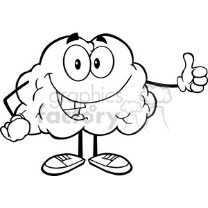 5981 Royalty Free Clip Art Happy Brain Character Giving A Thumb Up clipart. Royalty-free image # 389144