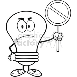 cartoon funny lightbulb idea character