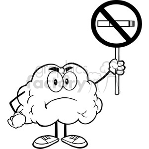 5993 Royalty Free Clip Art Angry Brain Cartoon Character Holding up A No Smoking Sign clipart. Royalty-free image # 389174