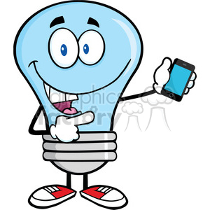 6092 Royalty Free Clip Art Blue Light Bulb Character Holding A Mobile Phone clipart. Royalty-free image # 389234