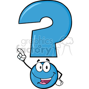6260 Royalty Free Clip Art Happy Blue Question Mark Cartoon Character Pointing With Finger clipart. Royalty-free image # 389274