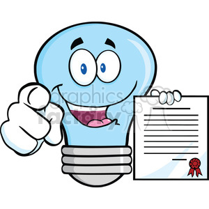 6155 Royalty Free Clip Art Blue Light Bulb Pointing With Finger And Holding A Contract clipart. Royalty-free image # 389284
