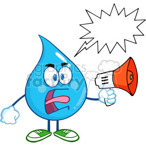 6225 Royalty Free Clip Art Angry Water Drop Character Screaming Into Megaphone With Speech Bubble clipart. Commercial use image # 389294