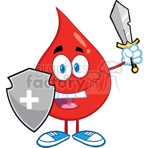 6174 Royalty Free Clip Art Red Blood Drop Guarder With Shield And Sword clipart. Royalty-free image # 389314