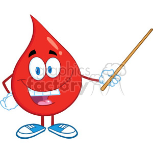 6185 Royalty Free Clip Art Red Blood Drop Character Holding A Pointer clipart. Royalty-free image # 389324