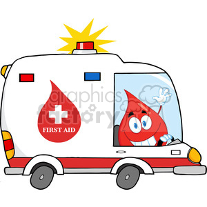 6183 Royalty Free Clip Art Red Blood Drop Character Driving Ambulance clipart. Royalty-free image # 389344