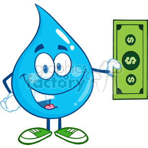 6235 Royalty Free Clip Art Water Drop Character Showing A Dollar Bill clipart. Royalty-free image # 389364