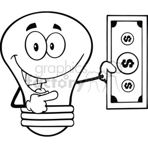 cartoon funny lightbulb idea black+white money currency