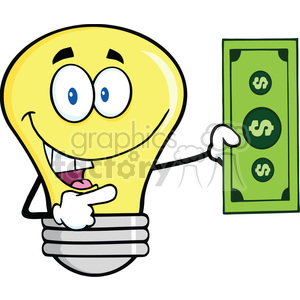 6151 Royalty Free Clip Art Light Bulb Character Showing A Dollar Bill clipart. Commercial use image # 389394