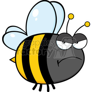 6548 Royalty Free Clip Art Angry Bee Cartoon Mascot Character clipart. Commercial use image # 389404