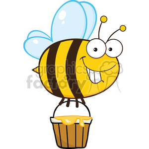 6550 Royalty Free Clip Art Smiling Cute Bee Flying With A Honey Bucket clipart. Commercial use image # 389424
