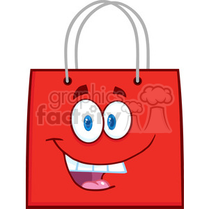 6719 Royalty Free Clip Art Happy Red Shopping Bag Cartoon Mascot Character clipart. Commercial use image # 389444