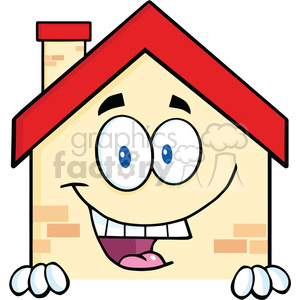 6466 Royalty Free Clip Art Happy House Cartoon Mascot Character Over Blank Sign clipart. Royalty-free image # 389479