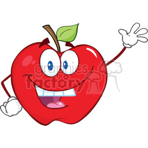 6502 Royalty Free Clip Art Smiling Apple Cartoon Mascot Character Waving For Greeting clipart. Royalty-free image # 389499