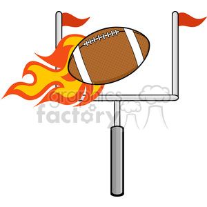 6566 Royalty Free Clip Art Flaming American Football Ball With Goal clipart. Commercial use image # 389519
