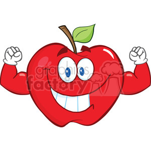 6507 Royalty Free Clip Art Smiling Apple Cartoon Mascot Character With Muscle Arms clipart. Royalty-free image # 389529