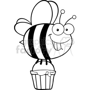 6549 royalty free clip art black and white smiling cute bee flying with a honey bucket