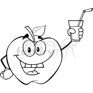6527 Royalty Free Clip Art Black and White Apple Cartoon Character Holding A Glass With Drink