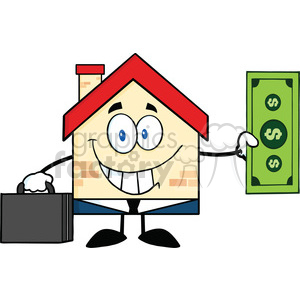 6452 Royalty Free Clip Art Smiling House Businessman Carrying A Briefcase And Showing A Dollar Bill clipart. Royalty-free image # 389559