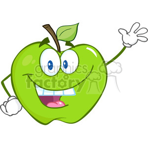 6503 Royalty Free Clip Art Smiling Green Apple Cartoon Mascot Character Waving For Greeting clipart. Royalty-free image # 389569