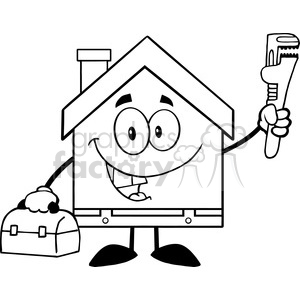 6455 Royalty Free Clip Art Black and White House Plumber With Wrench And Tool Box clipart. Commercial use image # 389579