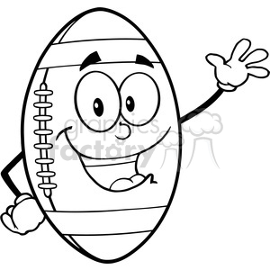 6571 Royalty Free Clip Art Black and White American Football Ball Cartoon Mascot Character Waving For Greeting clipart. Commercial use image # 389619
